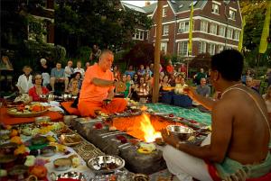 Swami Chetanananda at havan at The Movement Centert, July 2010